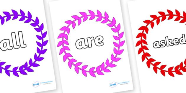 Tricky Words on Wreaths - Tricky words, DfES Letters and Sounds, Letters and sounds, display, words