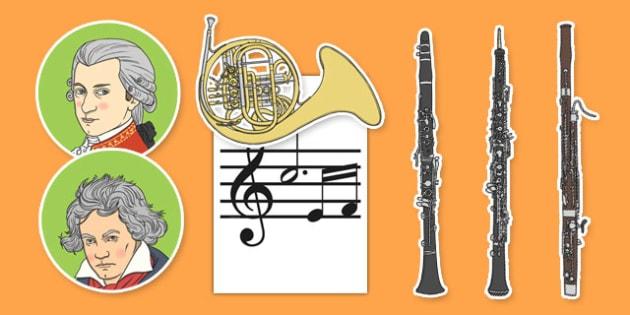 Classical Period Music Display Cut Outs - classical period, music