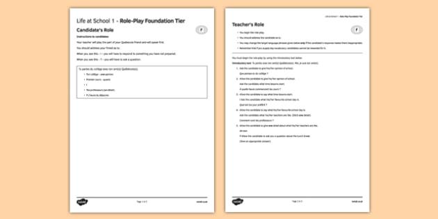 La vie scolaire 1 Jeu de rôle Foundation Tier - Role Play, Foundation, School, Collège