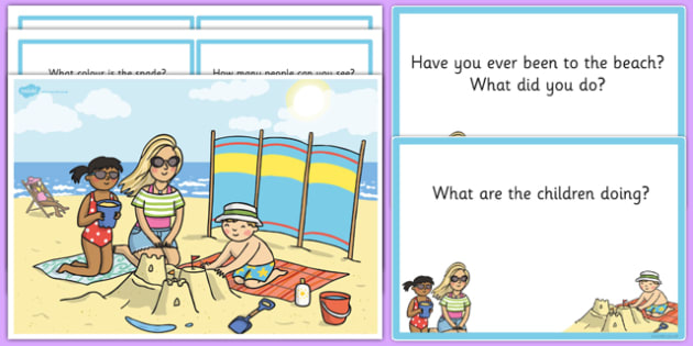 Family Beach Scene and Question Cards
