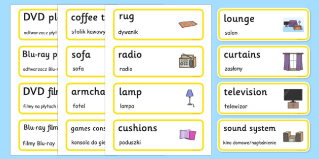 Lounge Word Cards Polish Translation - polish, houses and homes, house, home, building, lounge, Word cards, Word Card, flashcard, flashcards, brick, stone, detached, terraced, bathroom, kitchen, door, caravan, where we live, ourselves