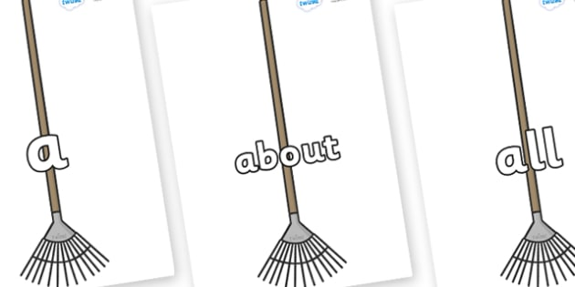 100 High Frequency Words on Garden Rakes - High frequency words, hfw, DfES Letters and Sounds, Letters and Sounds, display words