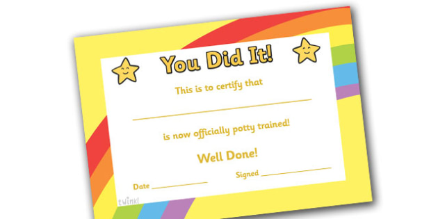 Potty Training Certificate - certificates, award, well done, reward, medal, rewards, school, general, certificate, achievement
