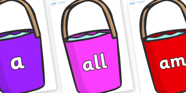 Foundation Stage 2 Keywords on Buckets - FS2, CLL, keywords, Communication language and literacy,  Display, Key words, high frequency words, foundation stage literacy, DfES Letters and Sounds, Letters and Sounds, spelling