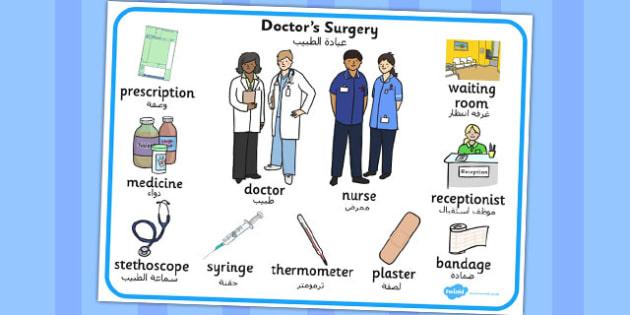 Doctor's Surgery Word Mat Arabic Translation - arabic, doctors surgery, word mat