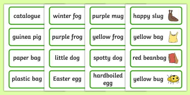 Three Syllable Final G Sound Word Cards - syllable, final g sound