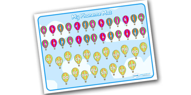 Combined Phase 3 & Alphabet Mat (Hot Air Balloons) - Sound Mat, Alphabet, A-Z, Letters and Sounds, Phase 3, Phase three, Foundation, Literacy, Mnemonic Images