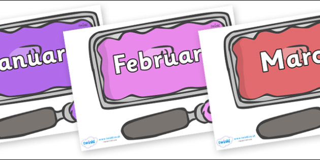 Months of the Year on Ice Cream Tubs - Months of the Year, Months poster, Months display, display, poster, frieze, Months, month, January, February, March, April, May, June, July, August, September