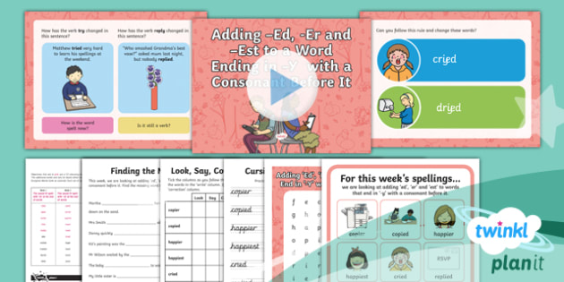 PlanIt Y2 Term 2A W1: Adding 'ed', 'er', 'est' to Words Ending with 'y' Spelling Pack - Spelling Packs Y2, Term 2A, week 1, ed, er, est, suffixes, suffix, adding er ed est