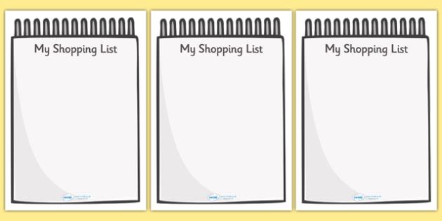 My Shopping List Writing Frames (A4) - my shopping list writing frames, my shopping list, shopping list, list, writing frames, writing template, writing frames, word cards, flashcards, template, A4, shopping