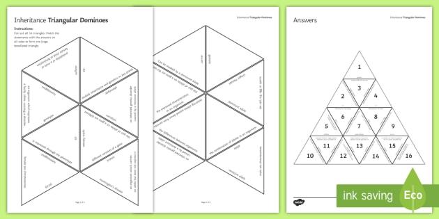 Inheritance Tarsia Triangular Dominoes - Tarsia, gcse, biology, inheritance, variation, gene, genetic, inherit, mutation, natural selection,