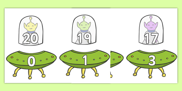 Number Bonds to 20 (Aliens and Spaceships)  - Number bonds, space, spaceship, alien, Counting to 20, Adding to 10, Bingo Counting