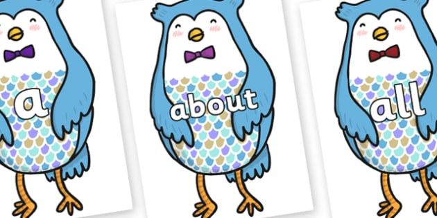 100 High Frequency Words on Owl - High frequency words, hfw, DfES Letters and Sounds, Letters and Sounds, display words