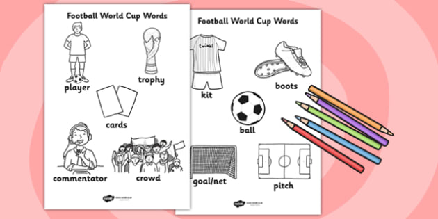 Football World Cup Words Colouring Sheet - football, colouring