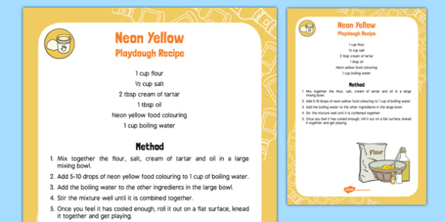 Neon Yellow Playdough Recipe