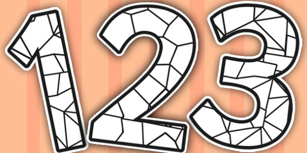 Stained Glass Black and White Themed A4 Display Numbers - glass