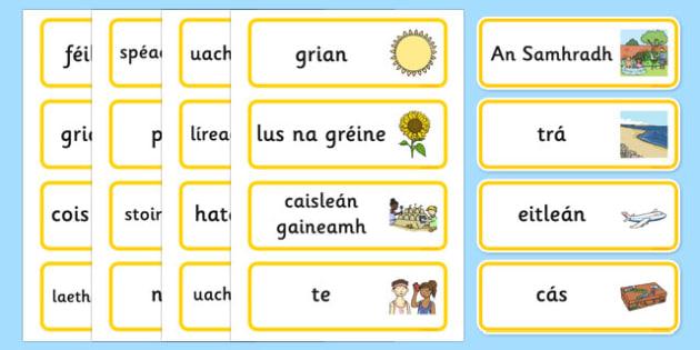 Summer Topic Word Cards Gaeilge - irish, gaeilge, Summer, Word cards, Word Card, flashcard, flashcards, season, holiday, holidays, beach, sun, flowers, ice cream, sea, seaside