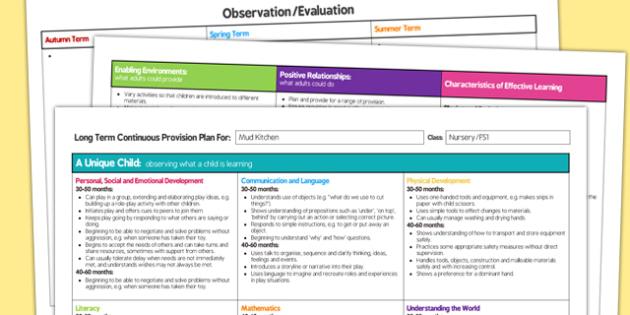 Mud Kitchen Editable Continuous Provision Plan Nursery FS1 - mud kitchen