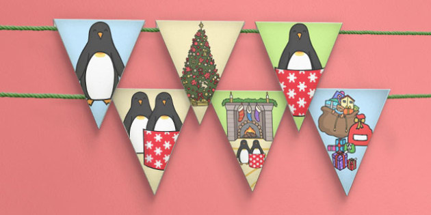 Monty the Penguin Bunting - monty, penguin, bunting, display