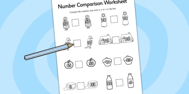 Little Red Riding Hood Number Comparison Worksheets - worksheet