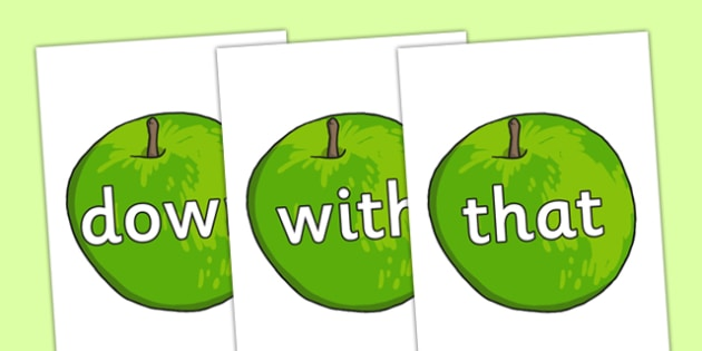 Phase 3 High Frequency Words on Apples - phase 3, high frequency words, apples, high frequency