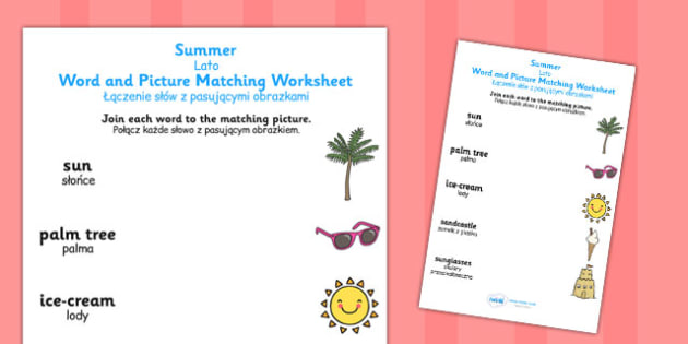 Summer Differentiated Word and Picture Matching Worksheets Polish Translation