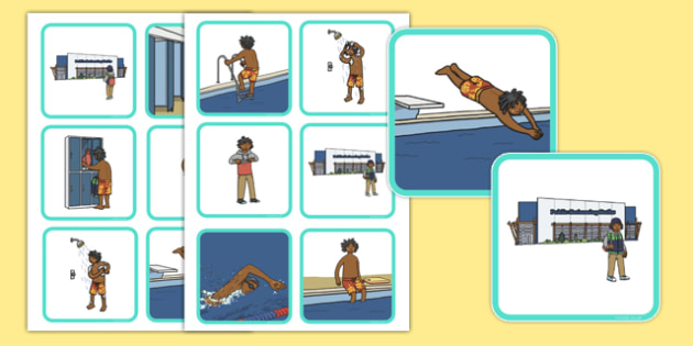 Swimming Pool Sequencing Cards - swimming, pool, sequencing, card