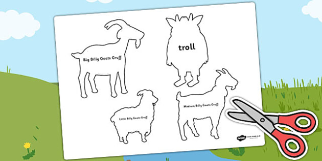 The Billy Goats Gruff Shadow Puppets - puppets, role play, story