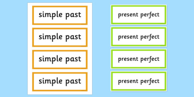 Present Perfect or Past Simple Word Cards - visual aids, keywords