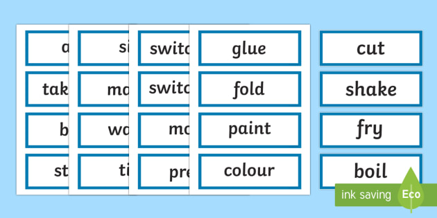 Early Stage 1 Procedure Language of Instruction Word Cards