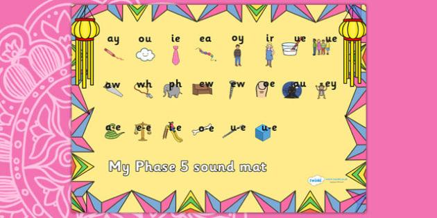 Diwali Themed Phase 5 Sound Mat - diwali, phase 5, phase five, sound mat, phase 5 sound mat, diwali sound mat, themed sound mat, phonics, letters and sounds