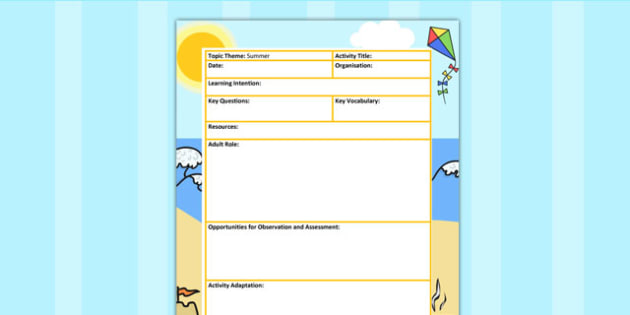 Summer Themed Adult Led Focus Planning Template - seasons, plan