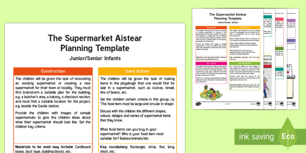 The Supermarket Aistear Planning Template  - Aistear, Infants, English Oral Language, School, The Garda Station, The Hairdressers, The Airport, T