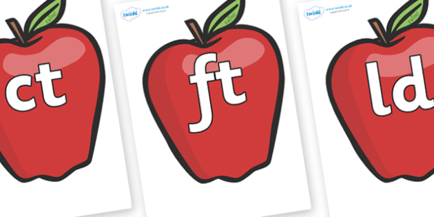 Final Letter Blends on Red Apples - Final Letters, final letter, letter blend, letter blends, consonant, consonants, digraph, trigraph, literacy, alphabet, letters, foundation stage literacy