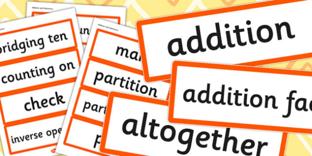 Year 2 2014 Curriculum Addition and Subtraction Vocabulary Card