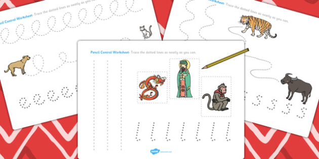Chinese New Year Story Pencil Control Sheets - control sheets