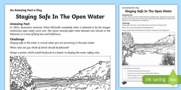 Staying Safe In The Open Water Activity Sheet, worksheet