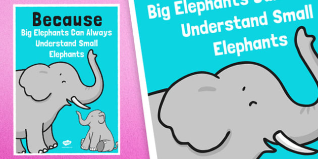 Because Elephants Mnemonic Poster - elephants, mnemonic, poster, display