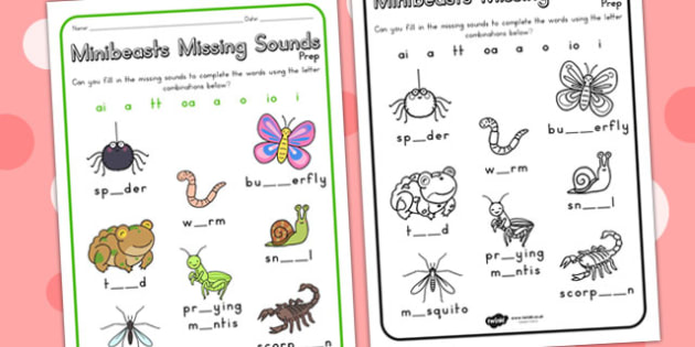 Minibeasts Cute Missing Sounds Worksheet - sound, sound games