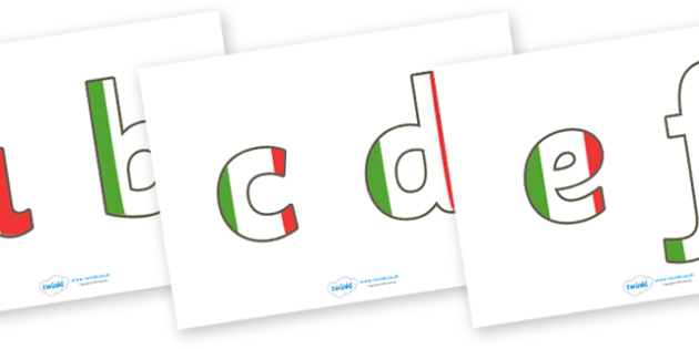 Display Lettering & Symbols (Italian) - Display lettering, display letters, alphabet display, letters to cut out, letters for displays, coloured letters, coloured display, coloured alphabet, Italy, Italian