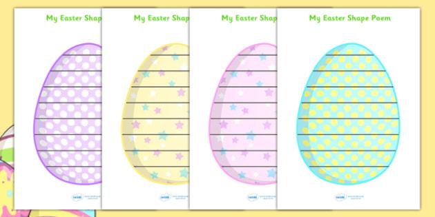 Easter Egg Shape Poetry - shape poetry, shape, poetry, shape poems, poetry writing frames, easter egg poetry, easter egg writing frame, easter egg page border, easter poetry, easter shape poem, poetry templates, poem template, poem writing frame
