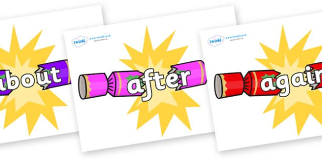 KS1 Keywords on Christmas Crackers (Cracking) - KS1, CLL, Communication language and literacy, Display, Key words, high frequency words, foundation stage literacy, DfES Letters and Sounds, Letters and Sounds, spelling