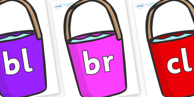 Initial Letter Blends on Bucket - Initial Letters, initial letter, letter blend, letter blends, consonant, consonants, digraph, trigraph, literacy, alphabet, letters, foundation stage literacy