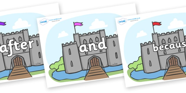 Connectives on Castles - Connectives, VCOP, connective resources, connectives display words, connective displays