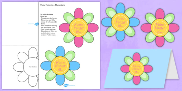 Mother's Day Flap Flower Card German - mother, mum, celebration, mothering sunday, German, Germany, Deutsche, flowers, craft, make