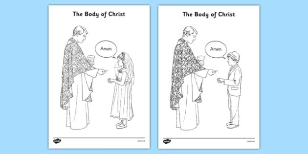 The Body of Christ Colouring Sheet - communion, religion, first holy communion, colouring sheet, activity, mass, eucharist