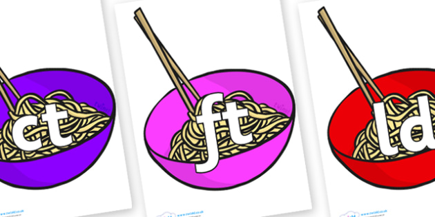 Final Letter Blends on Chinese Noodles - Final Letters, final letter, letter blend, letter blends, consonant, consonants, digraph, trigraph, literacy, alphabet, letters, foundation stage literacy