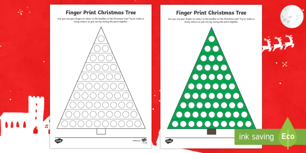 EYFS Finger Print Christmas Tree Activity
