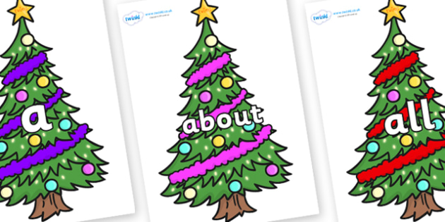 100 High Frequency Words on Christmas Trees (Decorated) - High frequency words, hfw, DfES Letters and Sounds, Letters and Sounds, display words