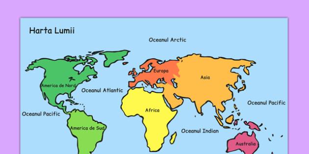 Harta lumii - continente, oceane, geografie, pamantul